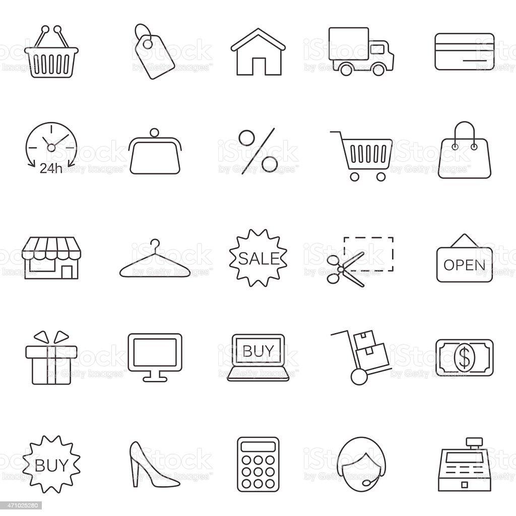 Shopping line icons set. Vector vector art illustration
