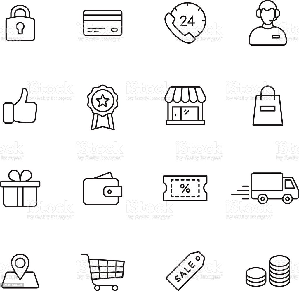 Shopping Line Icons vector art illustration