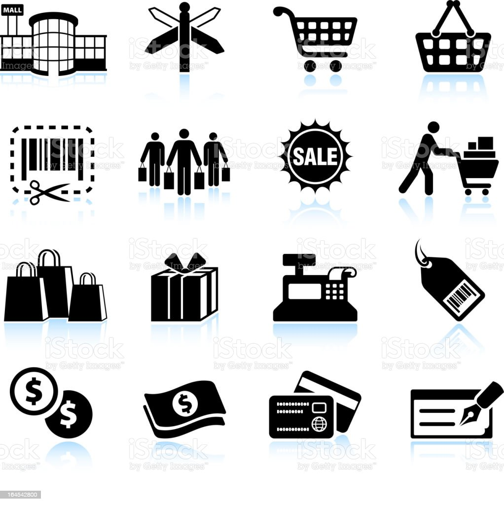 Shopping mall black & white royalty free vector icon set vector art illustration