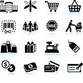 Shopping mall black & white royalty free vector icon set