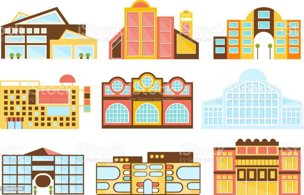 Shopping Mall Buildings Exterior Design Set vector art illustration