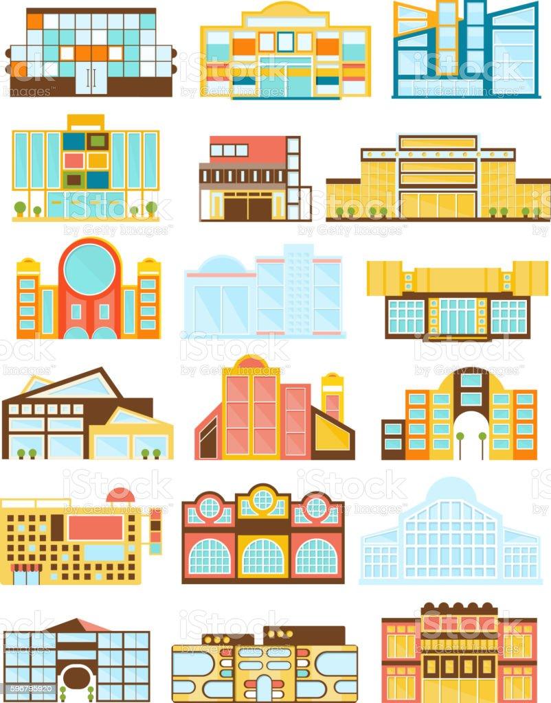 Shopping Mall Buildings Exterior Design vector art illustration