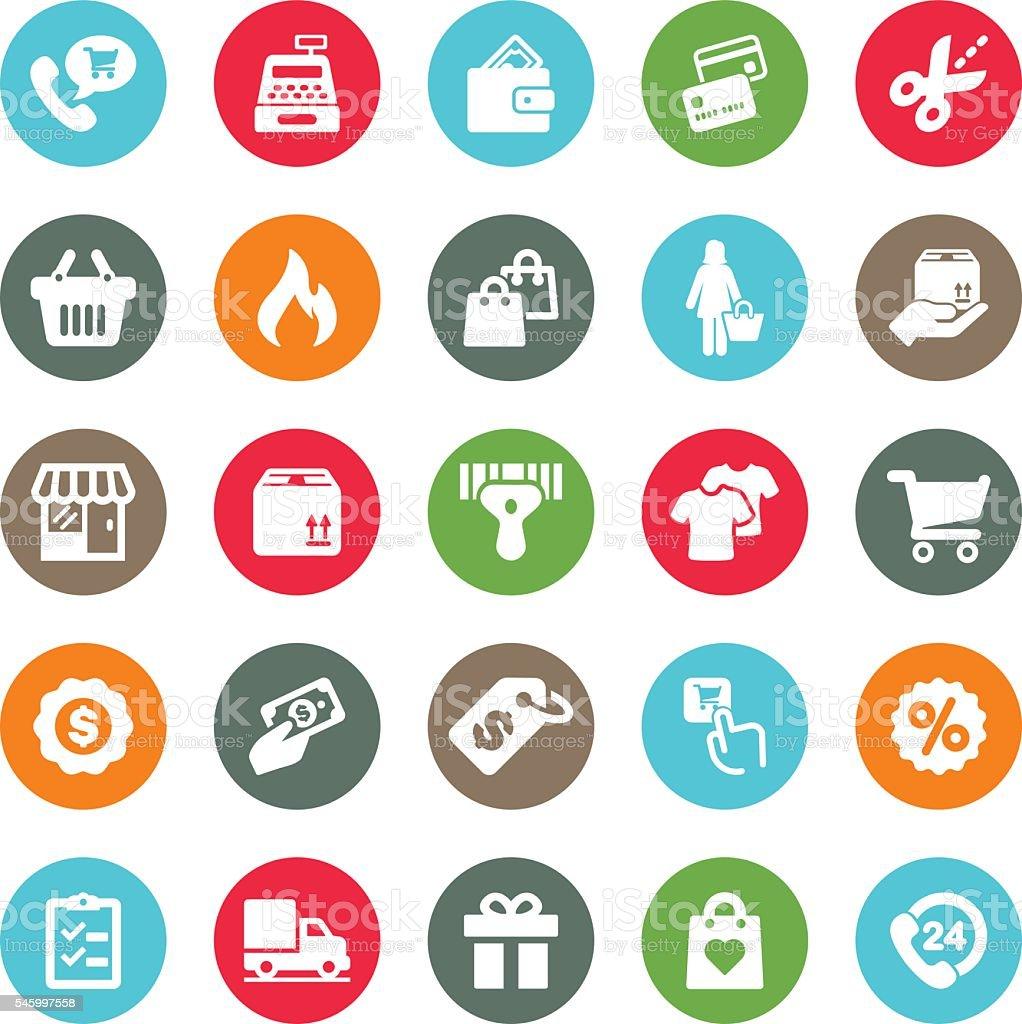 Shopping Mall Circle Colour Harmony icons | EPS10 vector art illustration