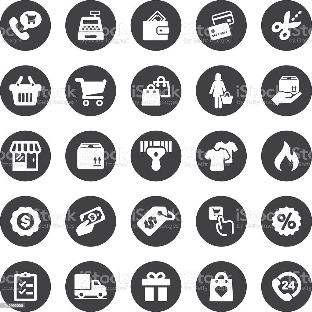 Shopping Mall Circle Silhouette icons | EPS10 vector art illustration