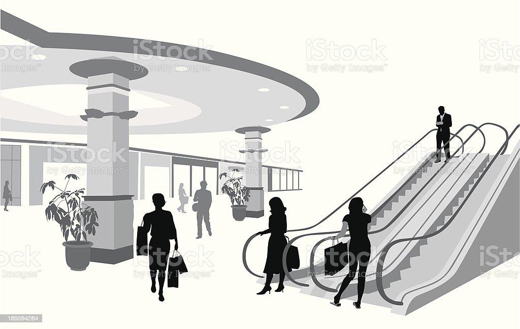 Shopping Mall Escalator Vector Silhouette royalty-free stock vector art