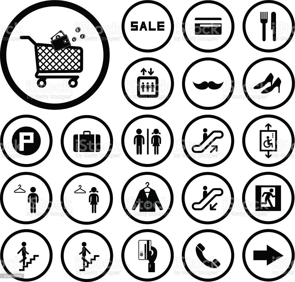 shopping mall icons set vector art illustration