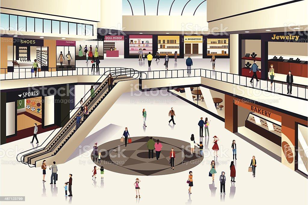 Shopping mall vector art illustration