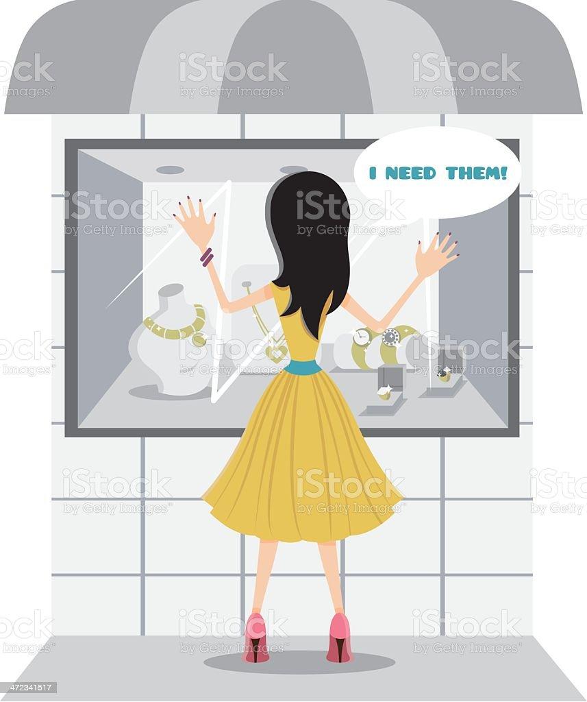 Shopping mania. I need them! royalty-free stock vector art