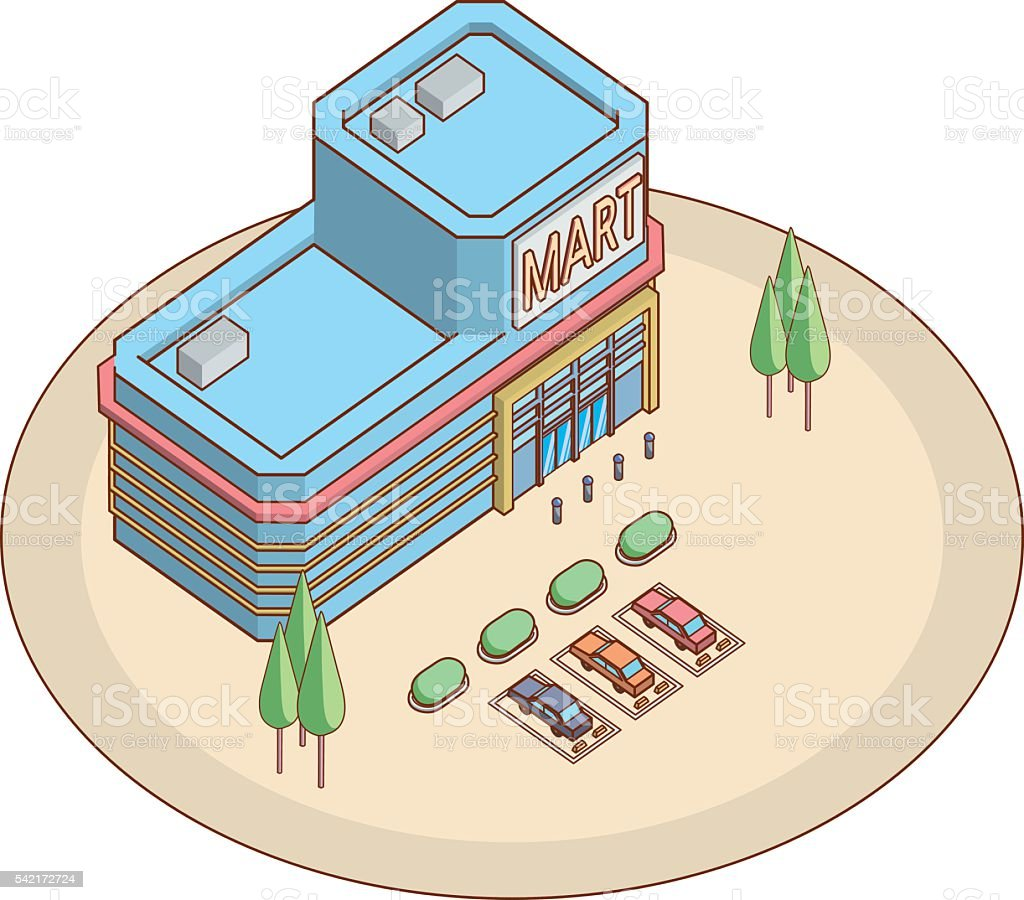 shopping market vector art illustration