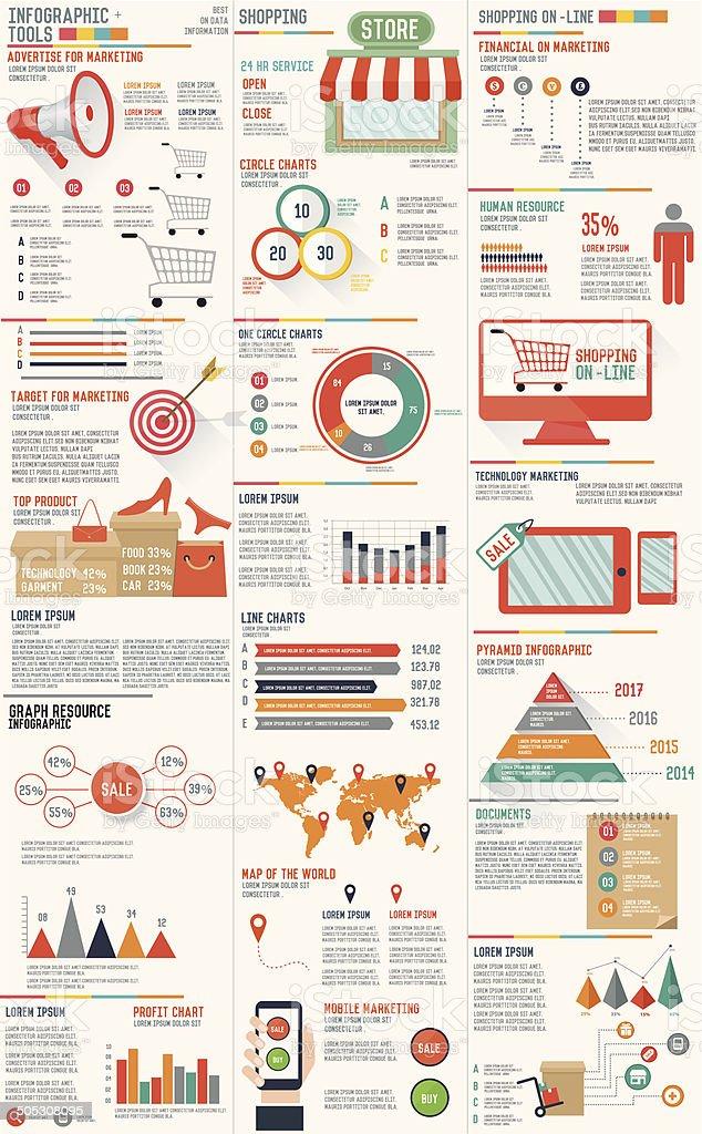 Shopping marketing info graphic design on white background,clean vector vector art illustration
