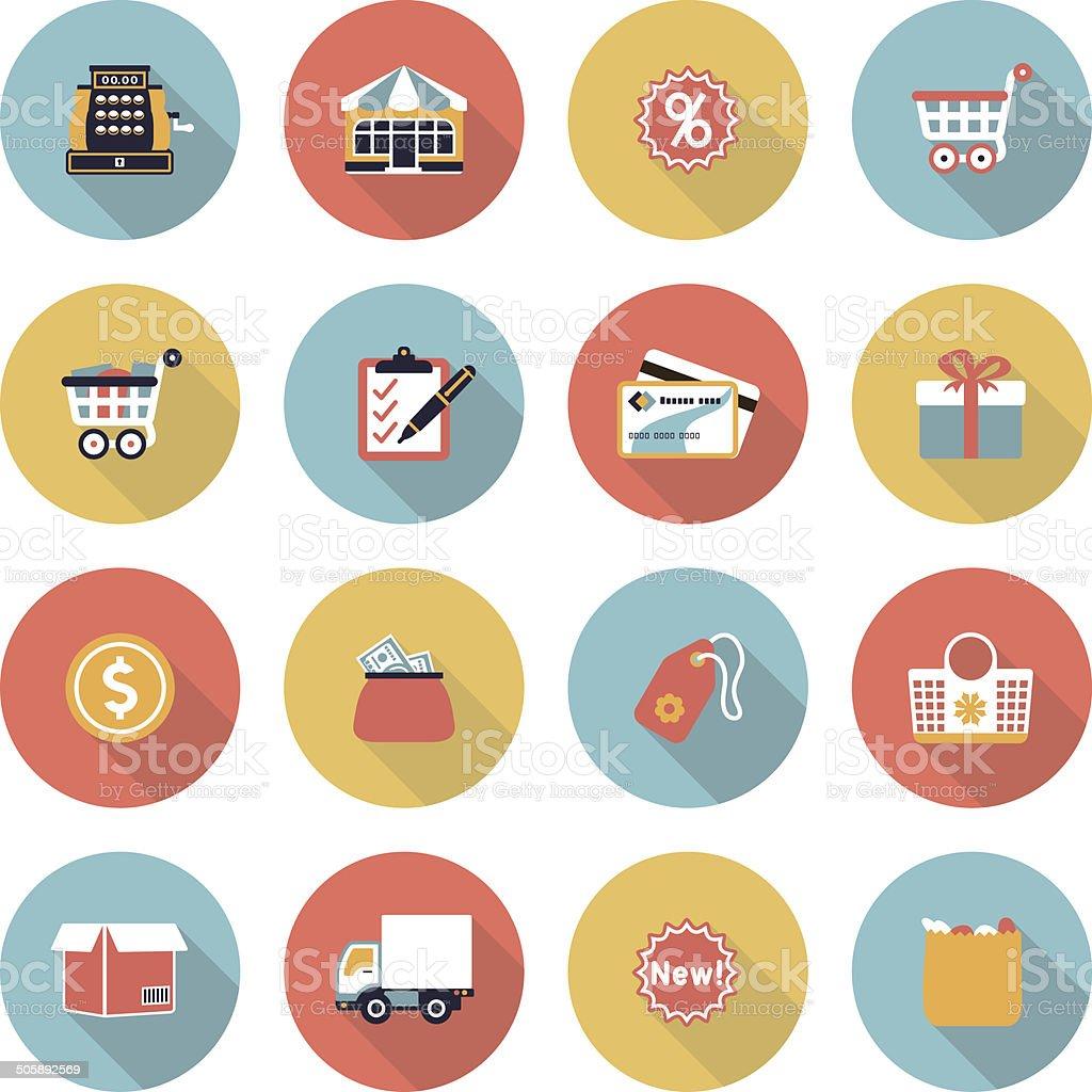 Shopping modern flat color icons. vector art illustration