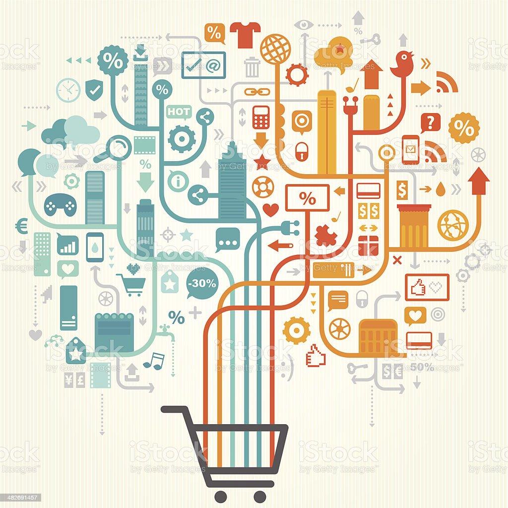 Shopping Online Design vector art illustration