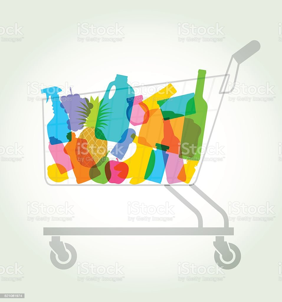 shopping or supermarket trolley vector art illustration