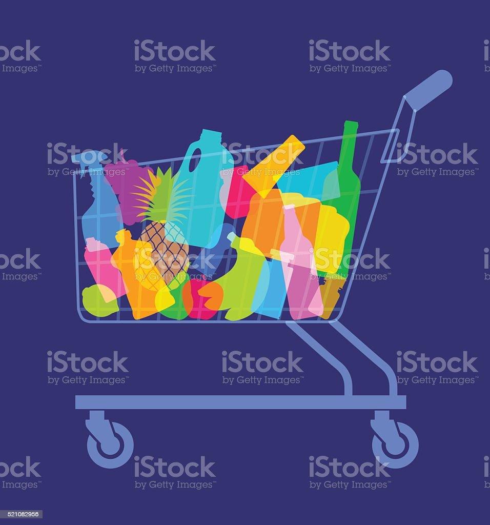 shopping or supermarket trolley vector art illustration