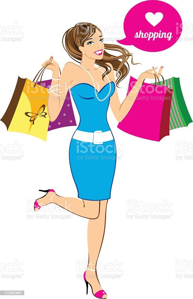 Shopping present girl royalty-free stock vector art