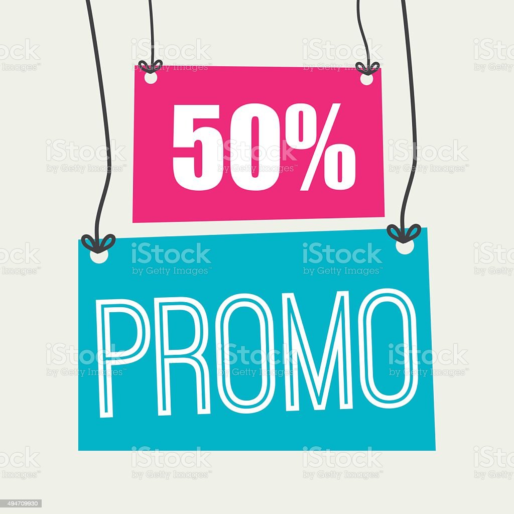 Shopping promo colorful label tag vector art illustration