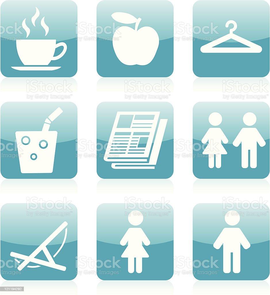 Shopping / Resort / Spa icons - Blue vector art illustration