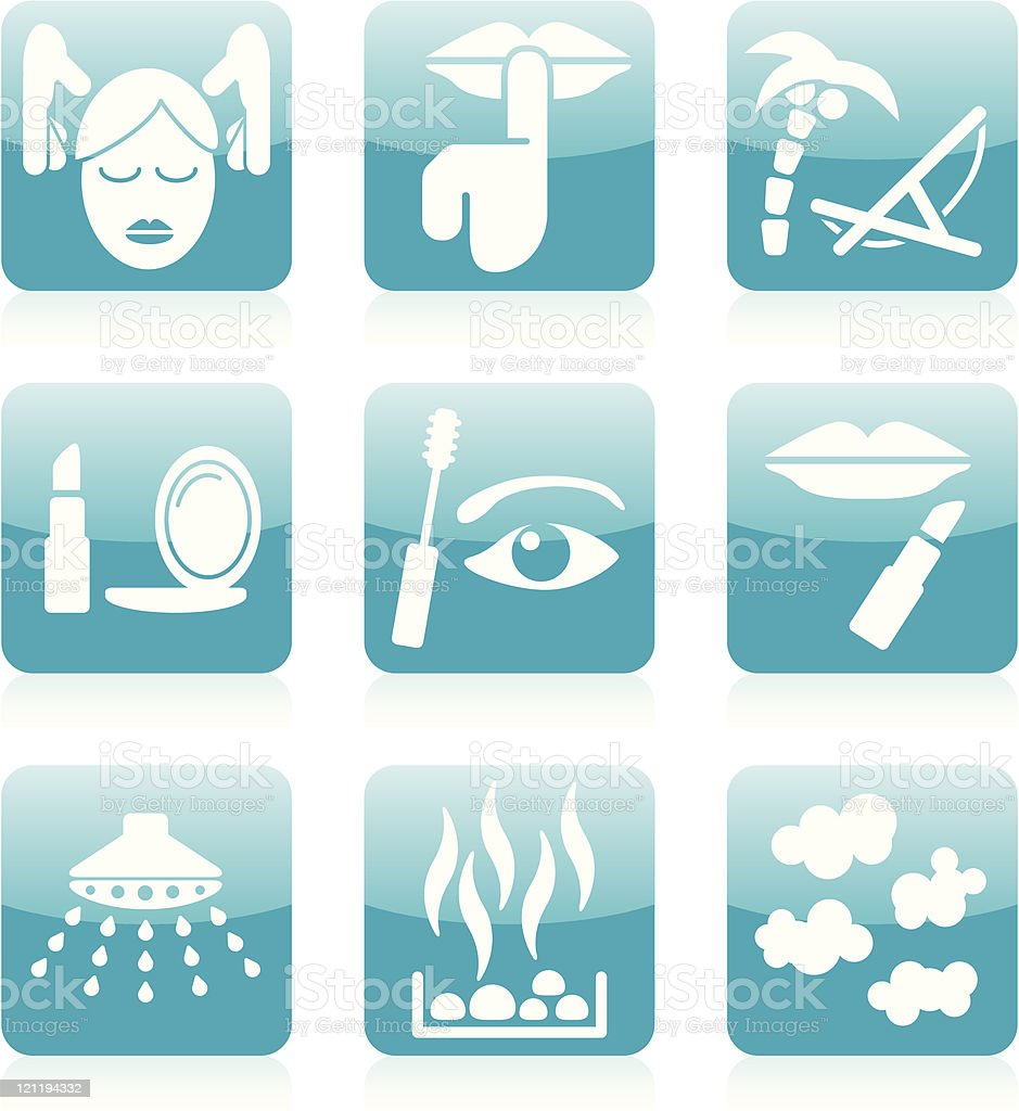 Shopping / Resort / Spa icons - Blue royalty-free stock vector art
