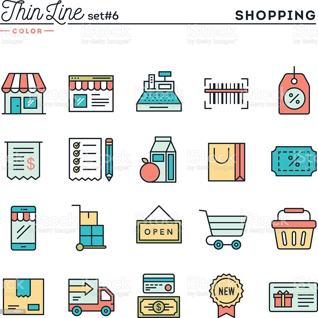 Shopping, retail, delivery, gift card, discount and more vector art illustration
