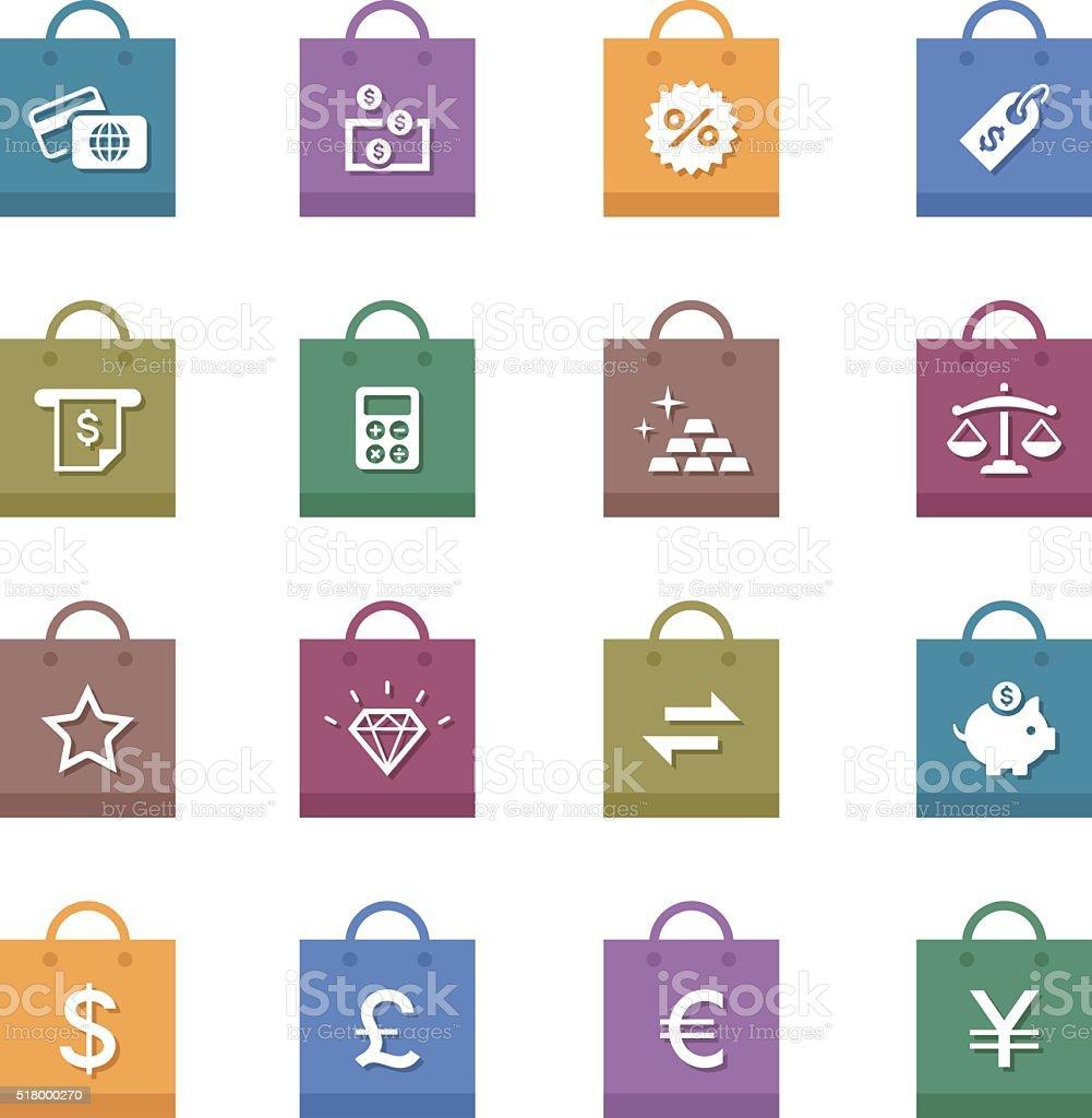 Shopping & Retail Icons Set vector art illustration