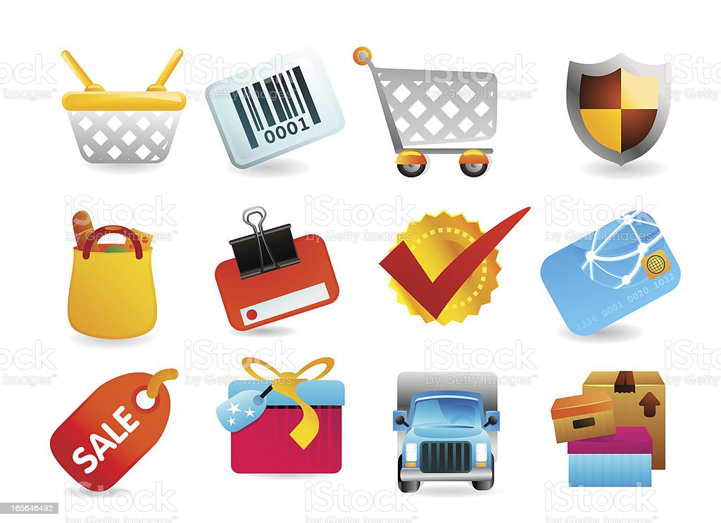 Shopping Retail Icons royalty-free stock vector art
