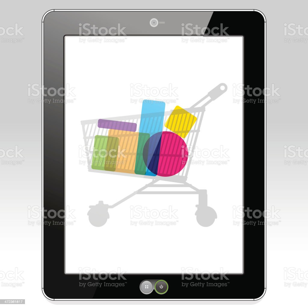 Shopping Retail on a Tablet PC royalty-free stock vector art