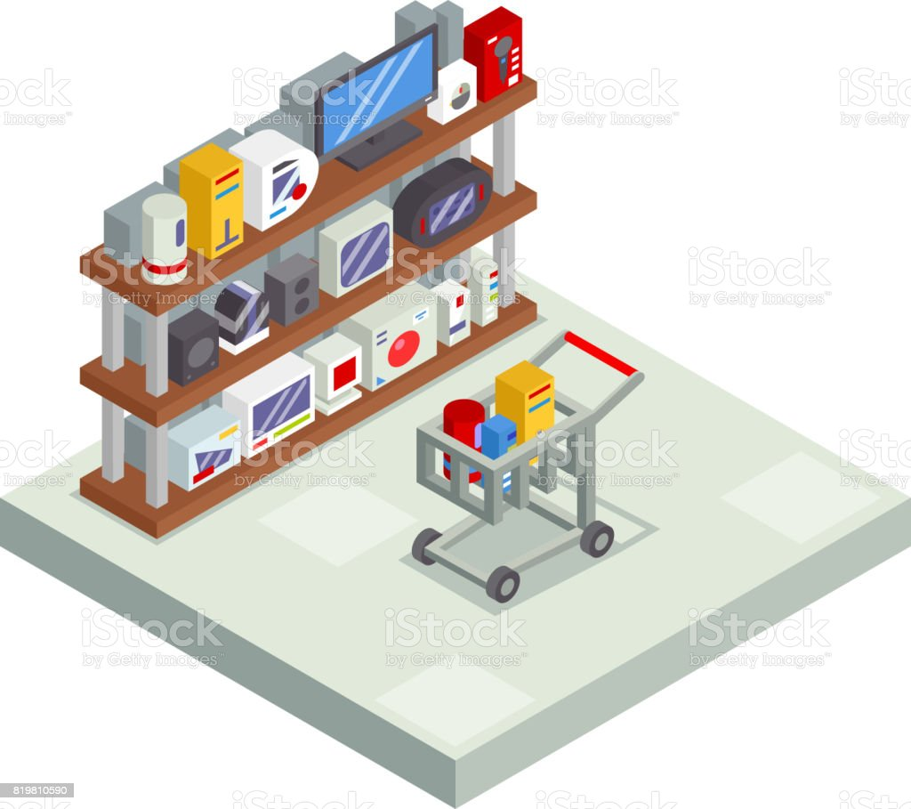 Shopping Room Interior Shelf With Goods Trolley Cart Isometric Shop Business Sell Offer Sale Store Market