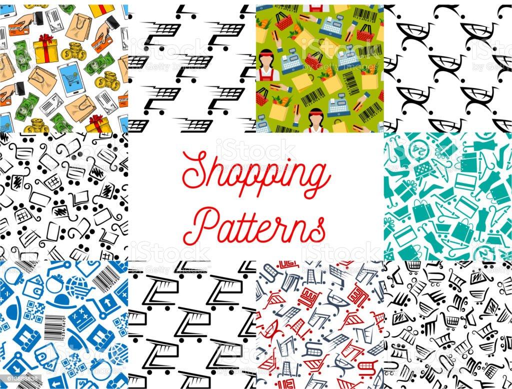 Shopping seamless patterns vector art illustration