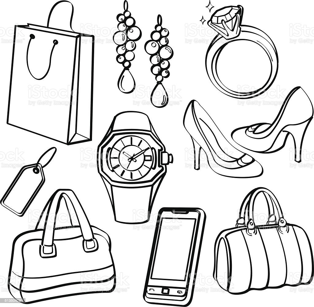 Shopping Set and Consumer Goods Collection vector art illustration
