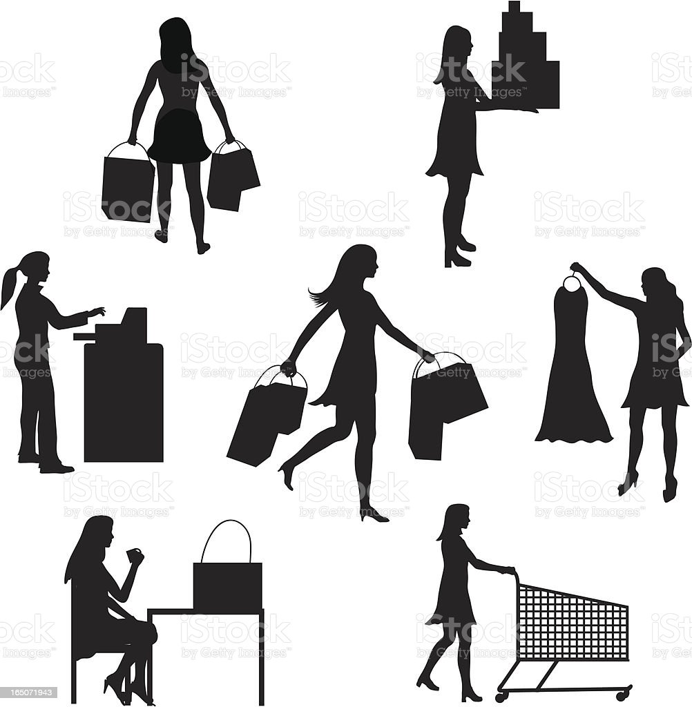 Shopping Silhouette Collection royalty-free stock vector art