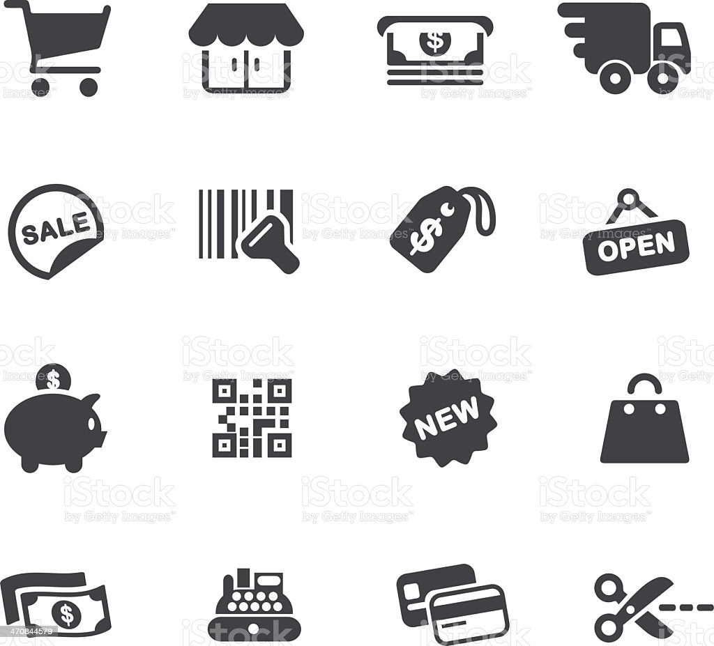 Shopping Silhouette Icons royalty-free stock vector art