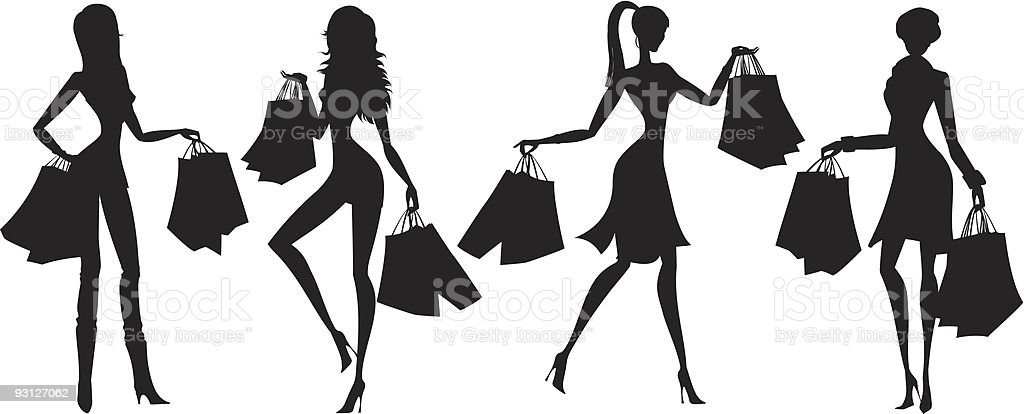Shopping silhouettes royalty-free stock vector art