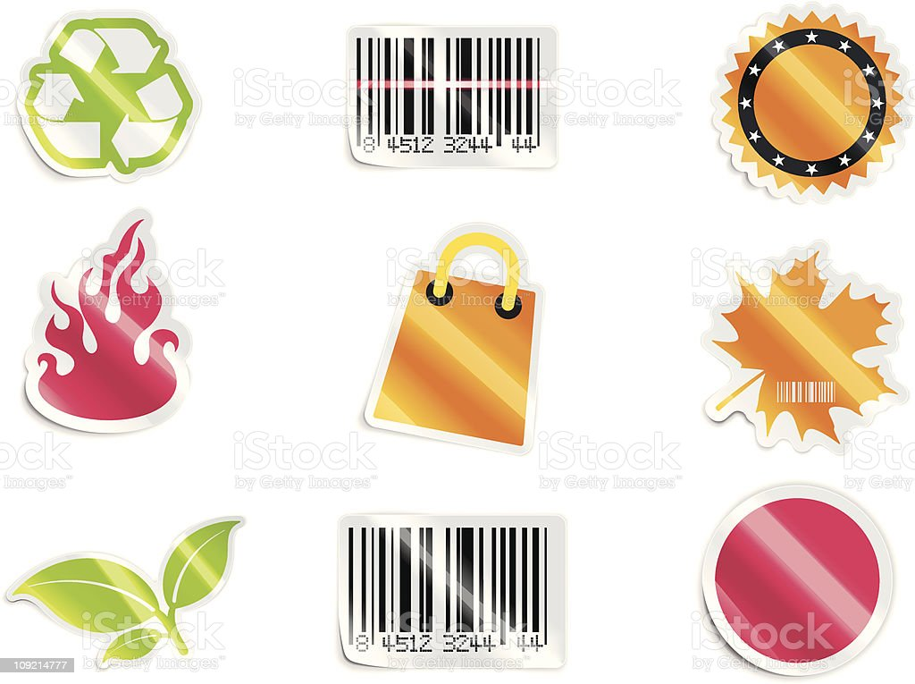 Shopping stickers set royalty-free stock vector art