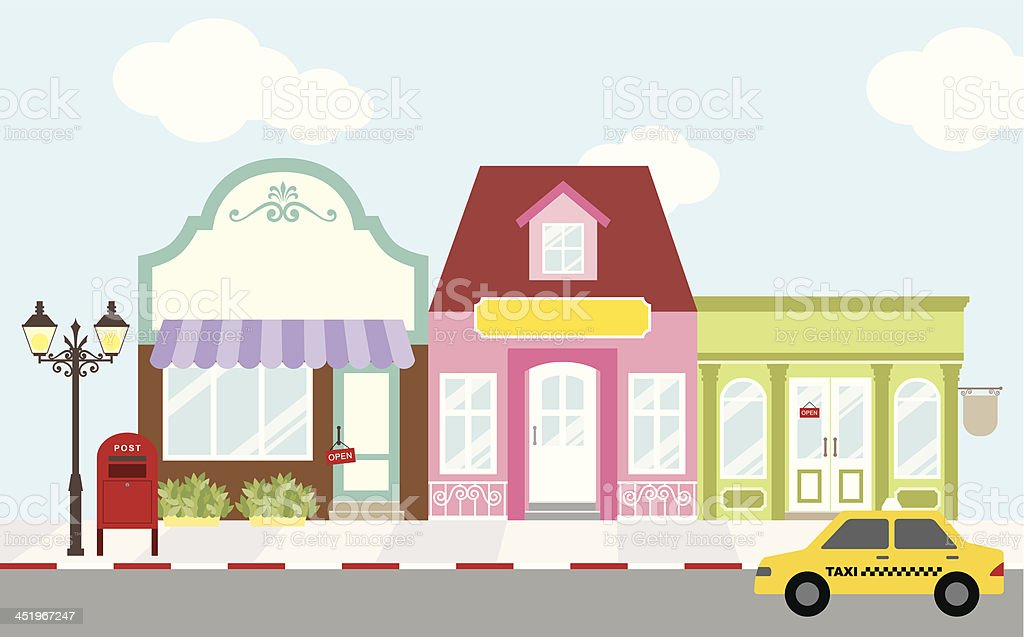 Shopping Street vector art illustration