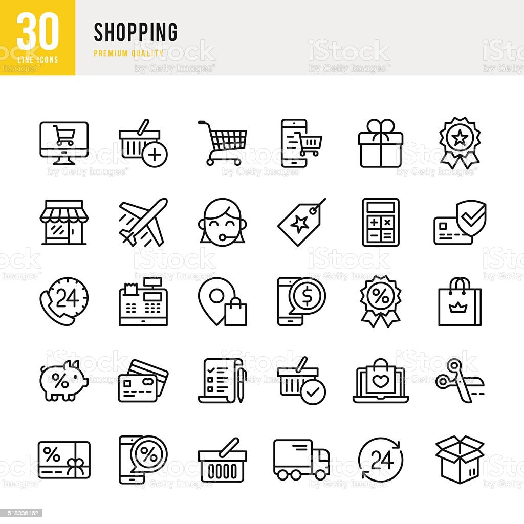 Shopping - Thin Line Icon Set royalty-free stock vector art