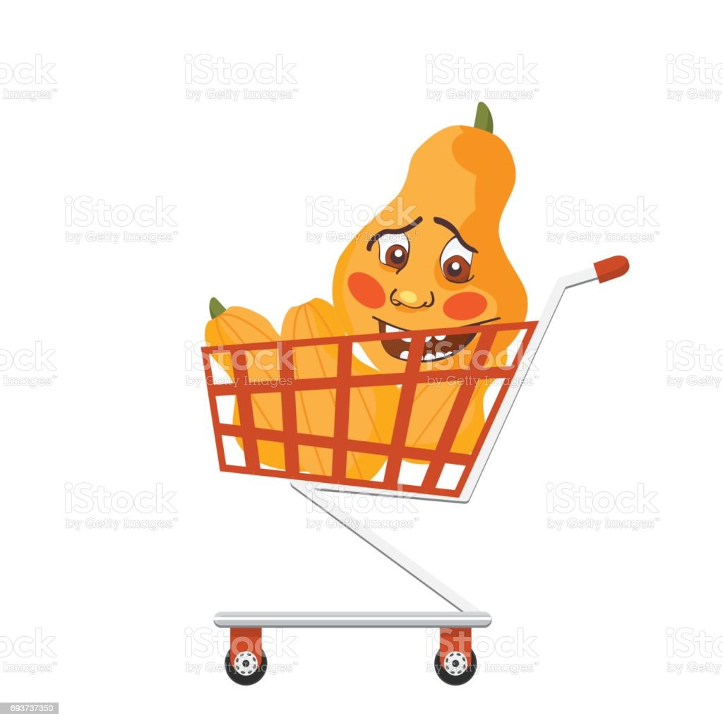 Shopping trolley full of butternut squashes or long pumpkins. Smiling squash character in a cart. vector art illustration