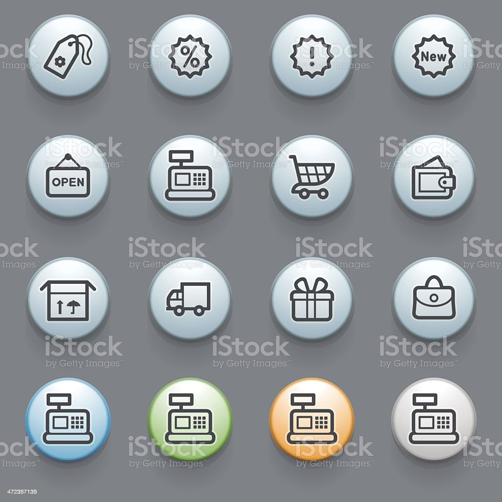 Shopping web icons with color buttons on gray background. royalty-free stock vector art