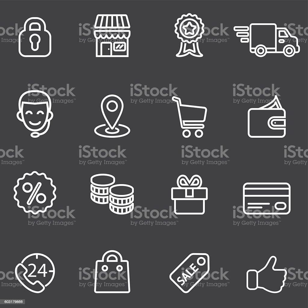 Shopping White Line icons | EPS10 vector art illustration
