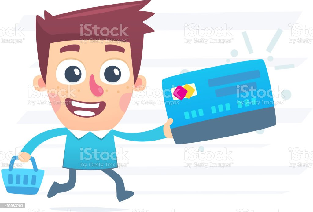 Shopping with plastic card royalty-free stock vector art