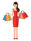 Shopping woman isolated on white background.