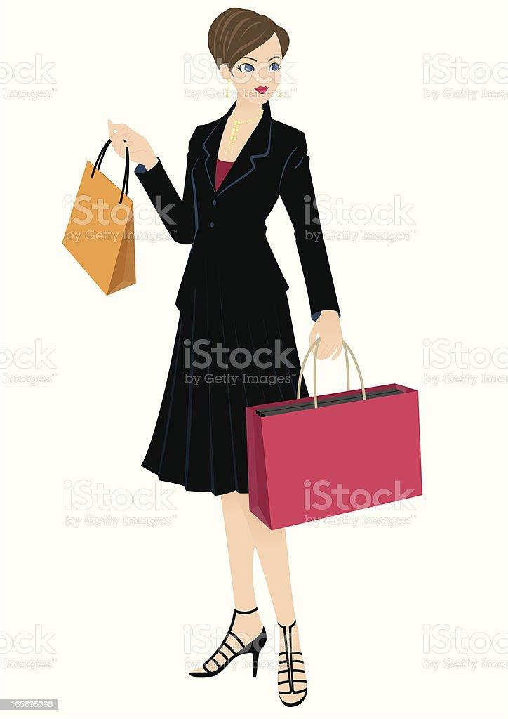 Shopping woman or Fashion coordinator Beauty adviser vector art illustration
