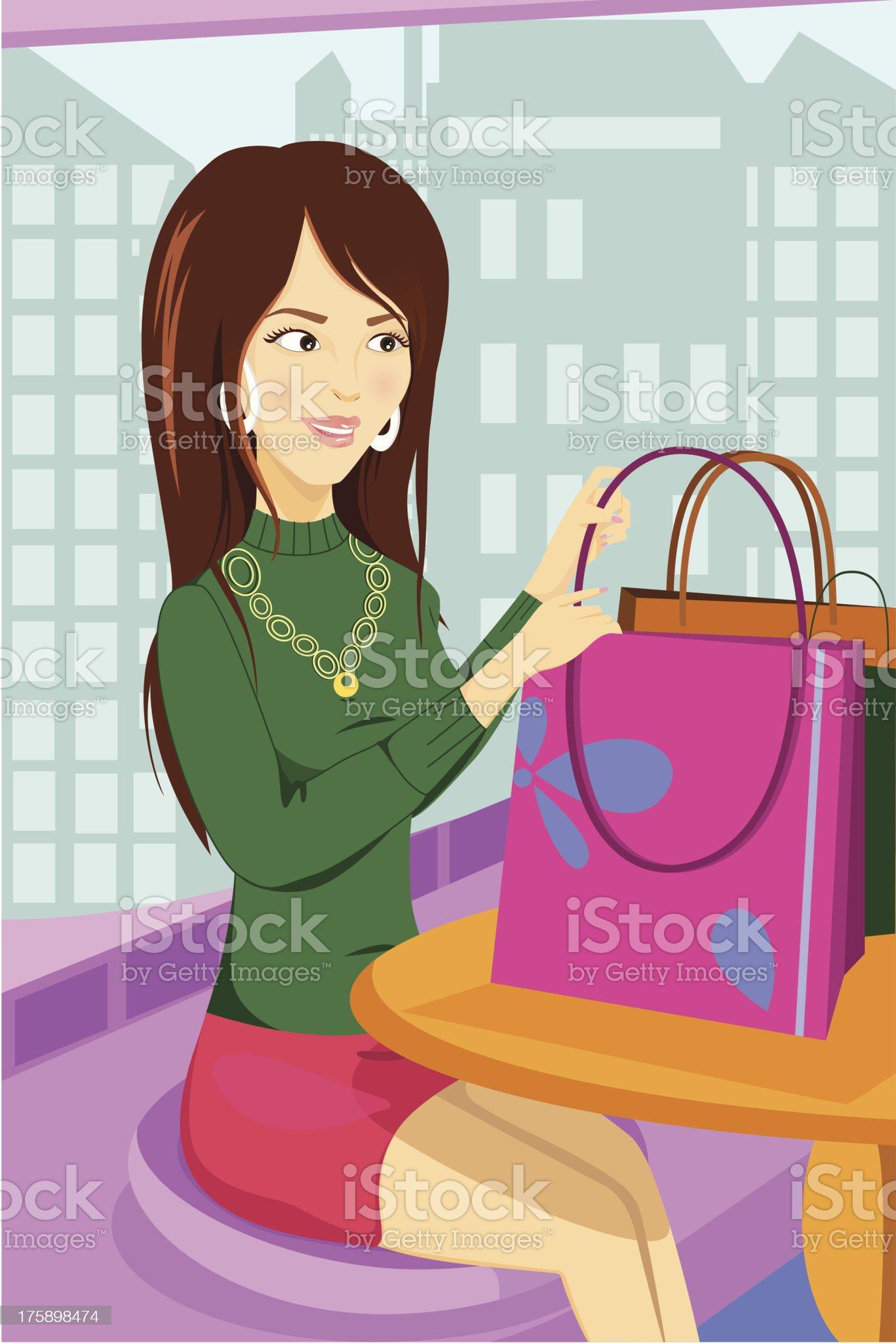 Shopping woman royalty-free stock vector art
