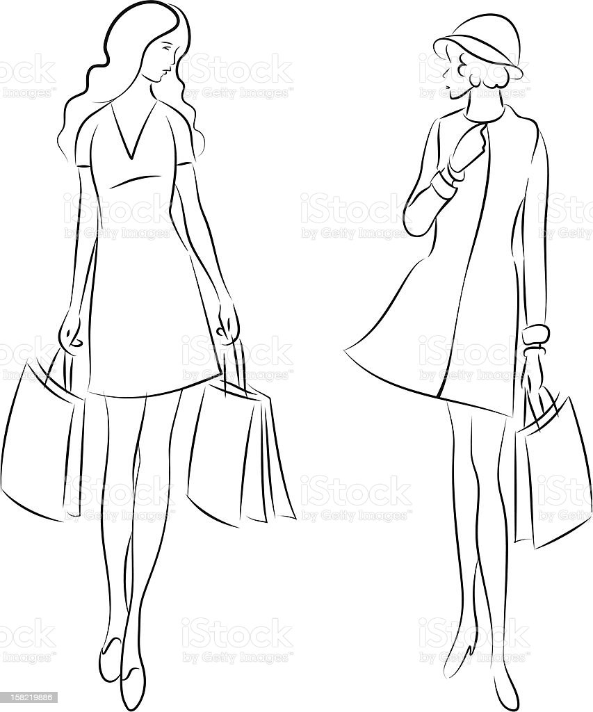shopping women royalty-free stock vector art