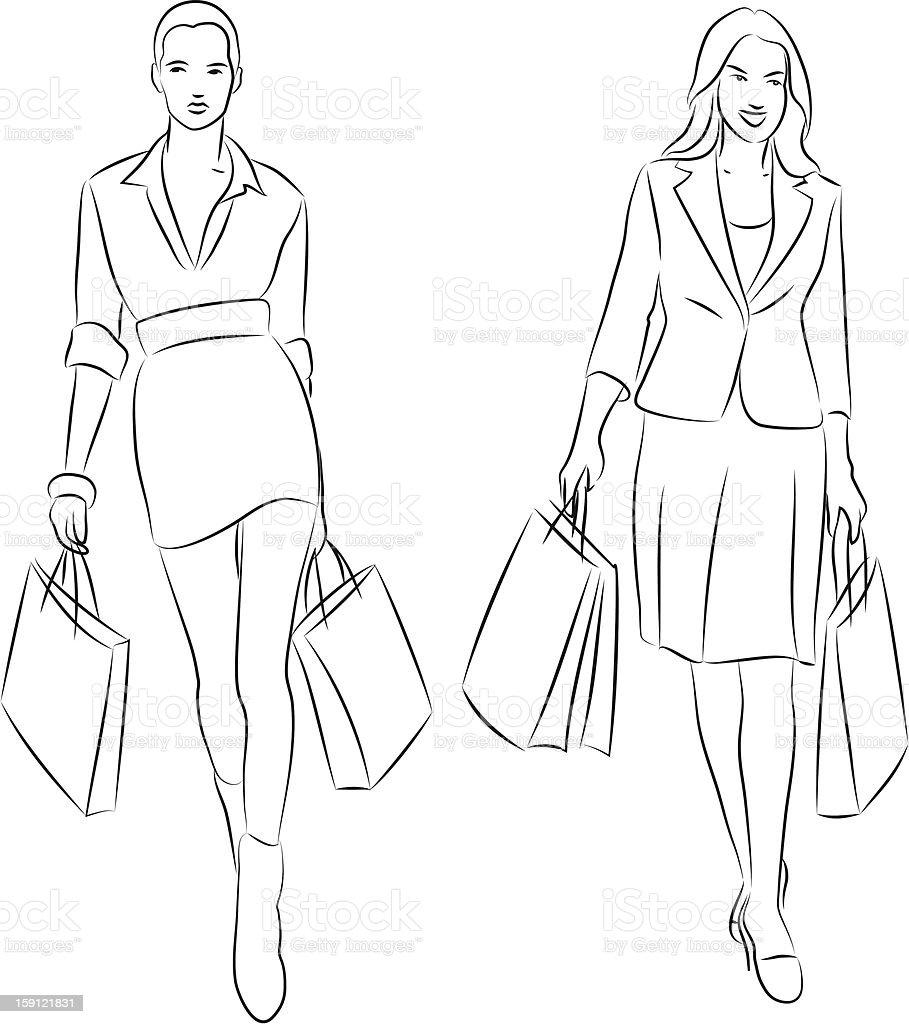 shopping women vector art illustration