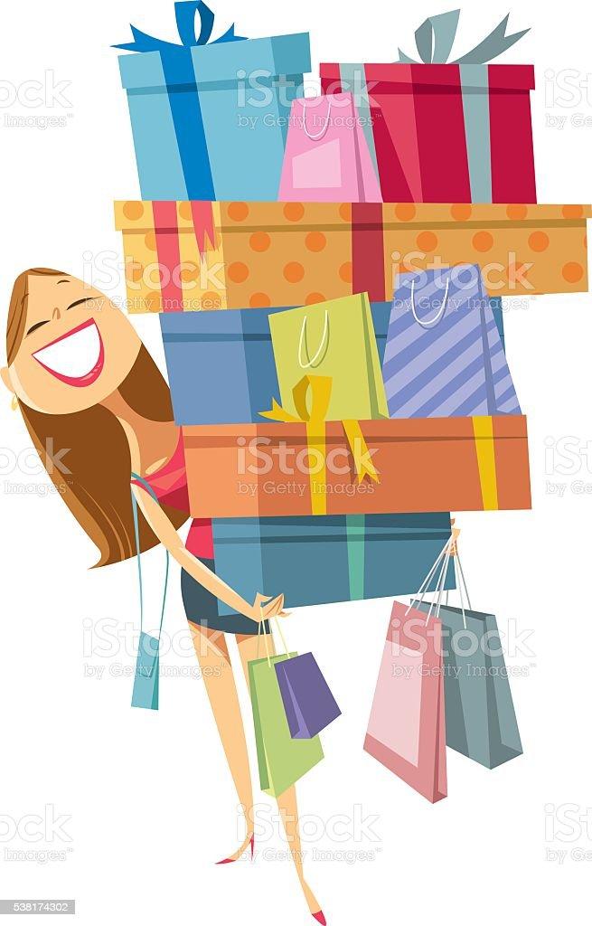 shopping young girl vector art illustration