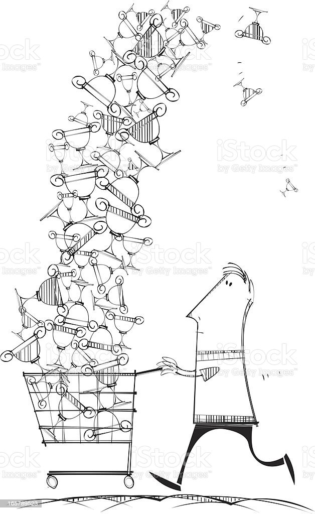 Shoppng Trolley with Trophys vector art illustration