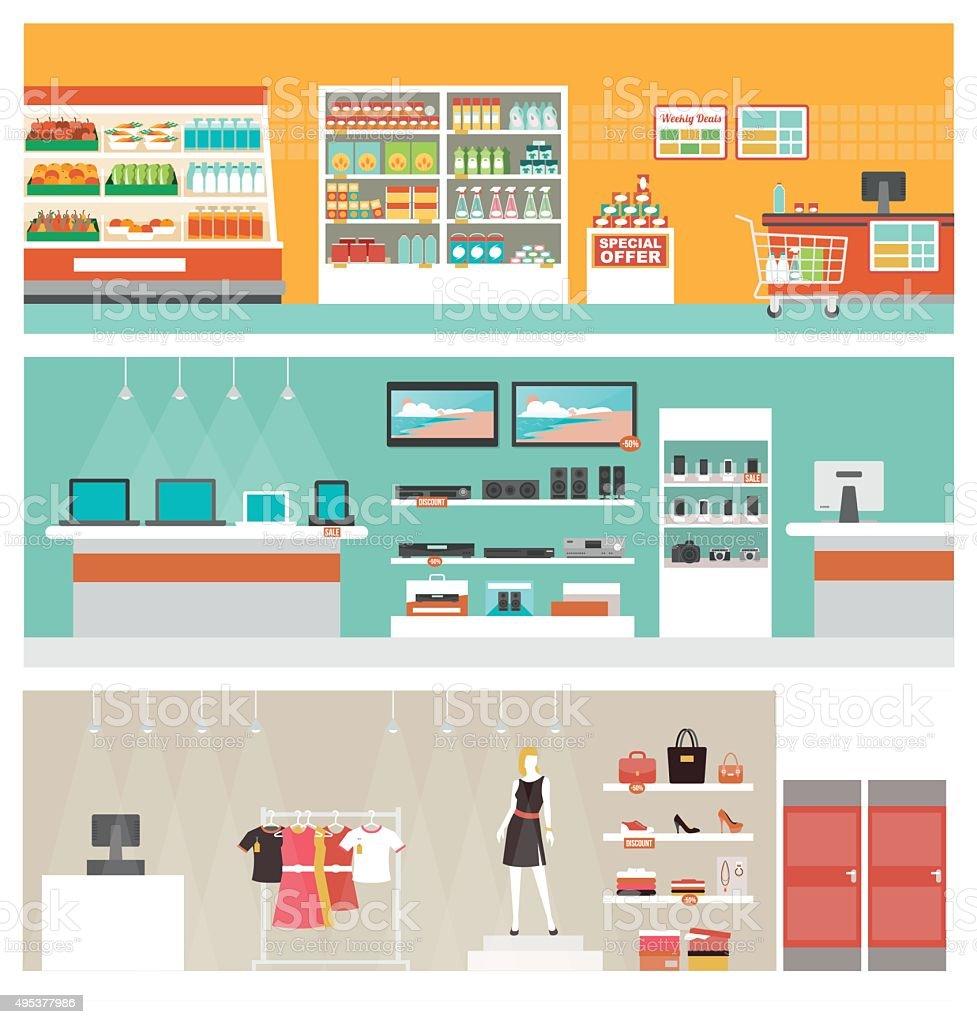 Shops and stores banner set vector art illustration