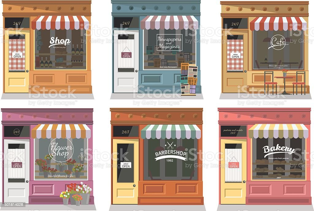 Shops and stores facade icons set in flat design style. vector art illustration