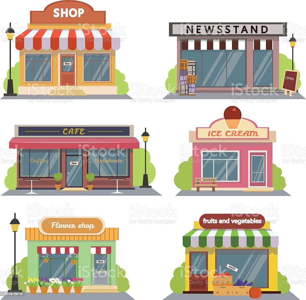 Shops and stores icons set in flat design style. vector art illustration