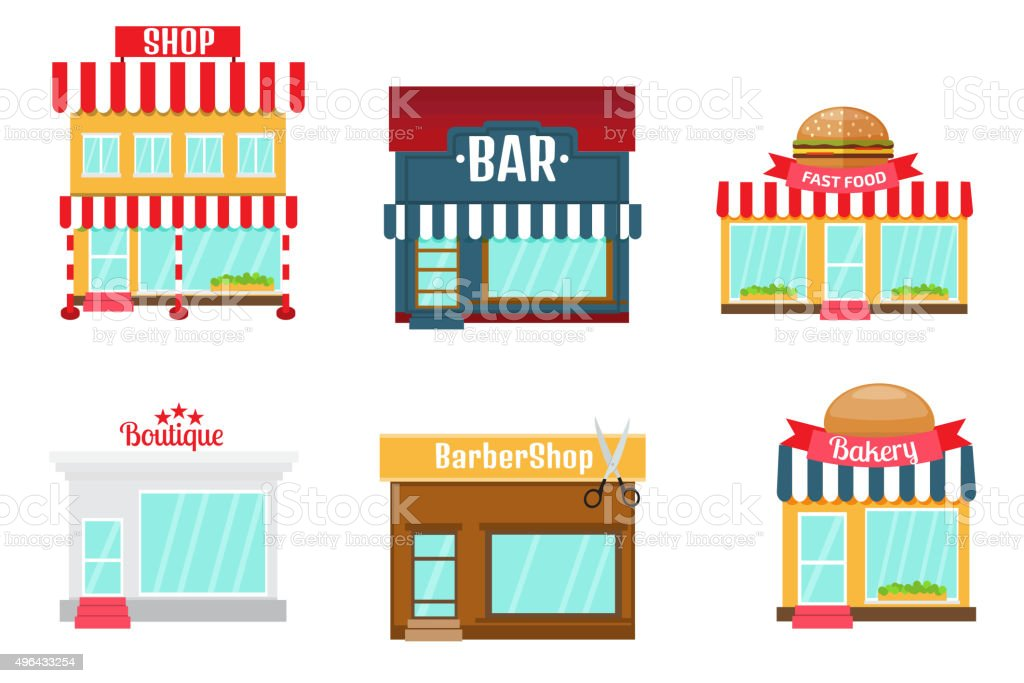 Shops icons set in flat design style. vector art illustration